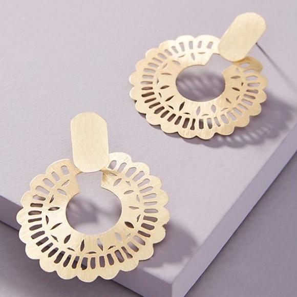 Anthropologie Gold  Mina Lace Hoop Earrings